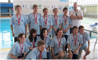 Sutton's bronze medal winning team with coach Simon Tidy